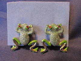 Vintage Glittery Articulated Frogs Clip On Earrings with Red Rhinestone ... - $9.99