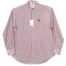 Oklahoma Sooners Thomas Dean Mens Dress Shirt XL White Red Blue Striped  - $74.00