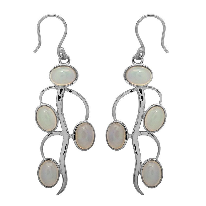 Rare Ethiopian Opal Gemstone 925 Sterling Silver Hook Earring For Girl SHER0496