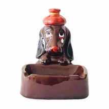 Mid-Century Enesco Redware Sad Basset Hound Dog Ashtray | jewelrybubble - $65.00