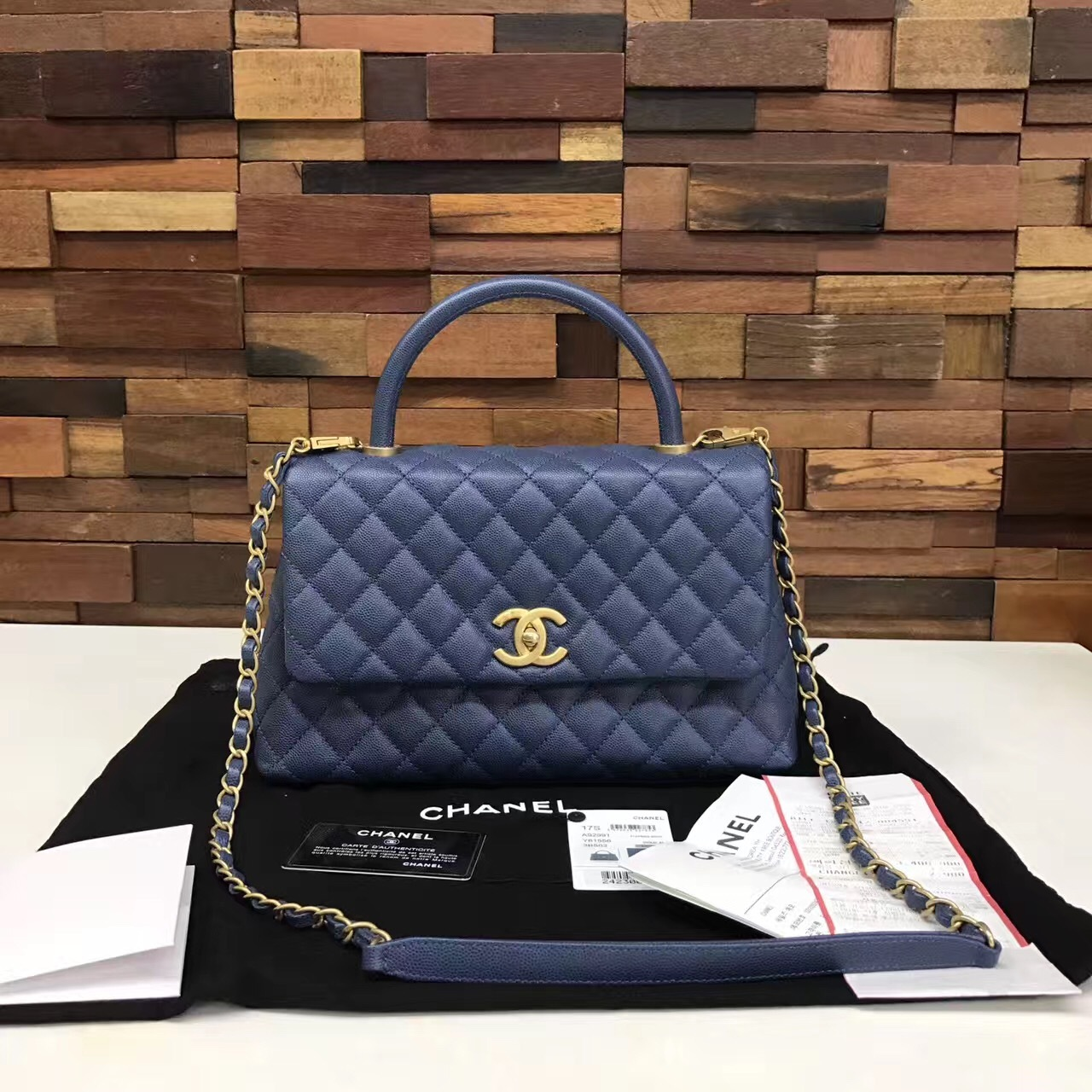 df653ad3452a AUTHENTIC CHANEL 2017 BLUE QUILTED CAVIAR MEDIUM COCO HANDLE BAG GHW ...