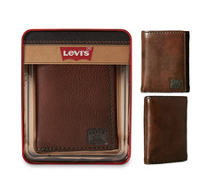 Levi's Men's Extra Capacity Credit Card ID Trifold Brown Wallet 31LV110002