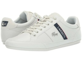Lacoste Men's Chaymon 119 1 U CMA Leather Casual Sneakers Off White Navy - $110.00
