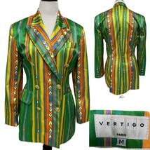 Vertigo Paris Women Blazer Green/Yellow/Orange striped Cotton Blend Size... - $34.65