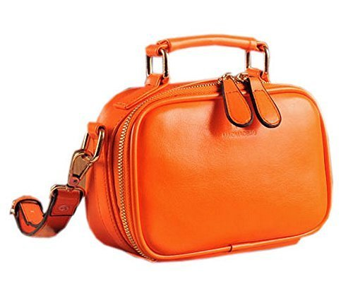 Fashion Solid Orange Makeup Case Leather Clutch