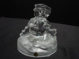 Snowman lead crystal Cristal d'Arques toys frosted base table decoration... - $14.99