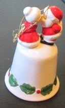 Vintage Christmas SANTA kissing Mrs Claus porcelain BELL - $17.99