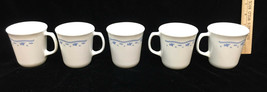 "Corelle Cups Dainty Blue Floral Mugs Set 5 Pieces White Coffee Tea 3.5"" ... - $21.77"