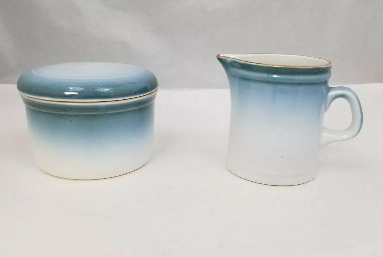 Nikko Gradiance Creamer and Sugar Bowl Azure Leafette Dishwasher Microwave Safe