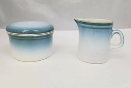 Nikko Gradiance Creamer and Sugar Bowl Azure Leafette Dishwasher Microwave Safe - $17.41