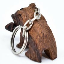 Hand Carved Ironwood Wood Folk Art 3D Grizzly Bear Country Rustic Theme Keychain image 3