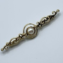 Vintage Monet Gold Tone Bar Brooch Estate Jewelry Signed Faux Pearl Clas... - $14.26