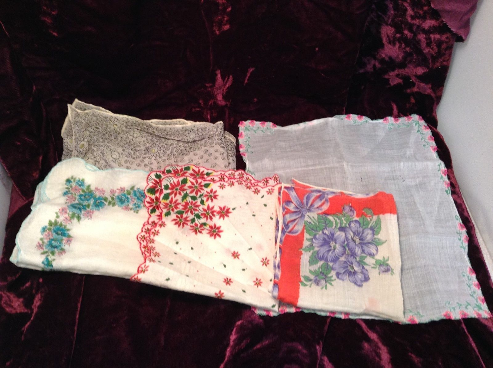 Antique Set of Assorted Floral Napkins