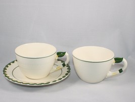 2 Cups and 1 Saucer Metlox Philodendron Vernonware Green Embossed Braid ... - $19.75