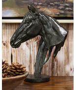 """Terracotta Horse Bust Sculpture 12""""Tall Faux Granite Resin Stallion Hors... - $30.99"""