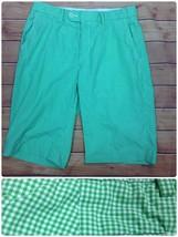 Polo Ralph Lauren Men's Suffield Shorts Sz 30 Green White Gingham Flat Front - $17.95