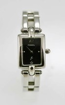 Fossil Watch Womens Stainless Steel Silver Water Resistant Black Quartz - £26.59 GBP