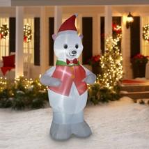 NEW! Holiday Time Airblown Inflatable Christmas Polar Bear 7 Feet Lights... - $49.49