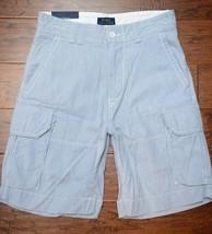 Polo Ralph Lauren Men's Light Blue Striped Cotton Cargo Chino Shorts W30 - $35.53