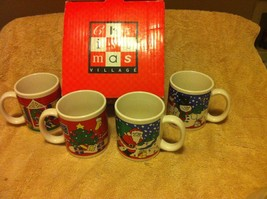 (4)  CHRISTMAS COFFEE MUGS--SANTA / SNOWMAN / TREE--FREE SHIP--NEW IN BOX - $16.18