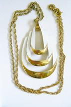 Vintage Trifari Signed Gold Tone White Color Enamel 3D Pendant Necklace - $59.40