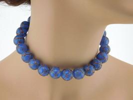 "Heavy Vintage Art Glass Bead Choker Blue w/Gold 14"" Sterling Silver Clasp 103 gr - $99.95"
