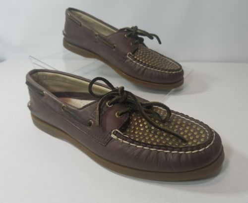 SPERRY TOP-SIDER WOMENS LACED BOAT SHOES LEATHER BROWN GOLD NON-MARKING SIZE 9.5