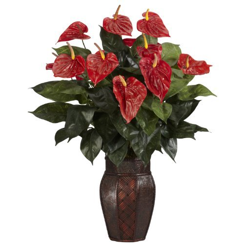 Nearly Natural 6666 Anthurium with Vase Decorative Silk Plant, Red