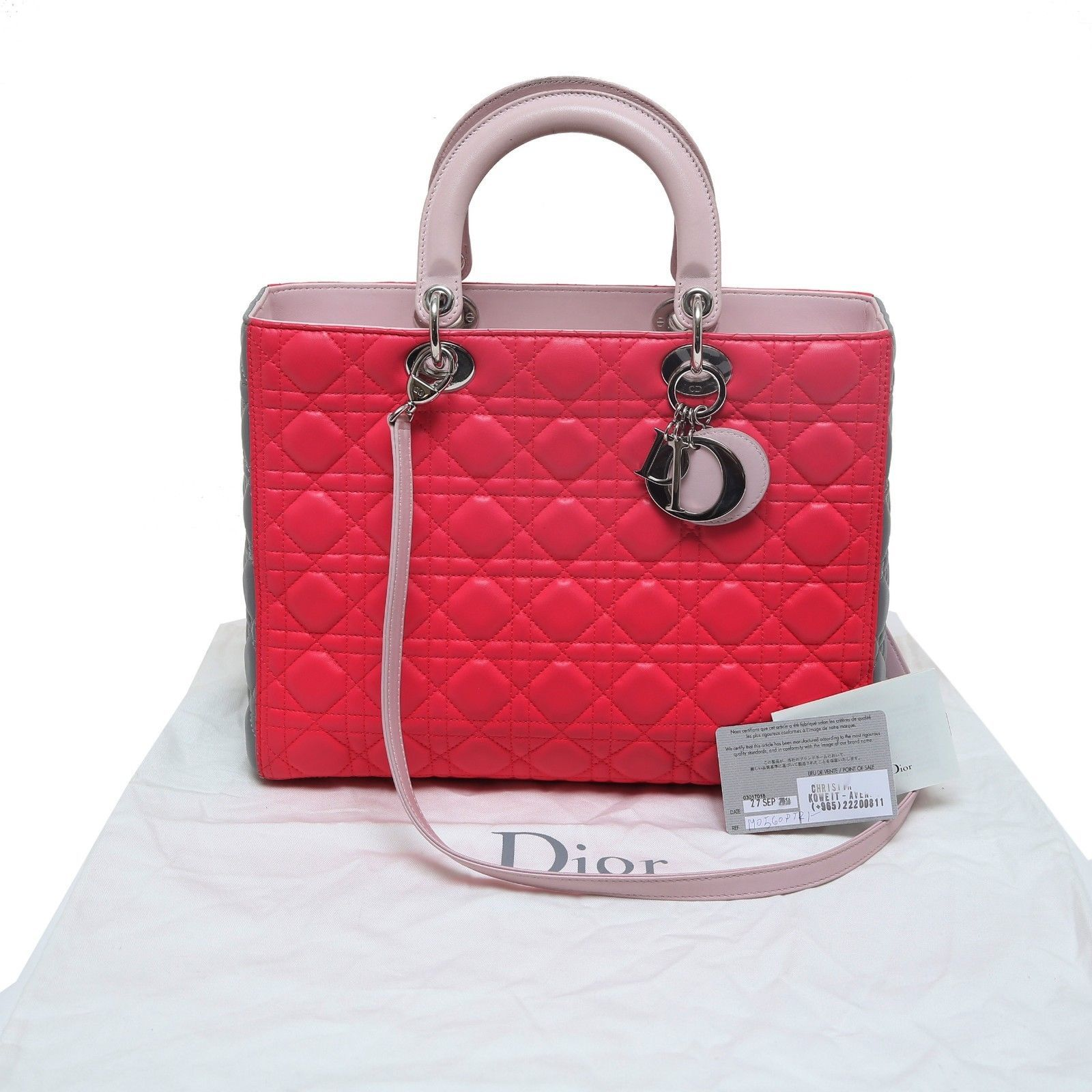 942909b2fc 57. 57. Previous. Auth Christian Dior Pink Gray Cannage Quilted Lambskin  Lady Dior Top Handle Bag
