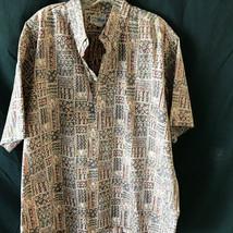 Reyn Spooner Hawaiian Shirt Pull Over Brown Abstract Print XXL - $47.49