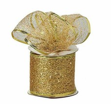 Decorative Tulle Glitter Sheer Wired Ribbon Roll 2.5 inch x 10 Yard, Gold - $10.84
