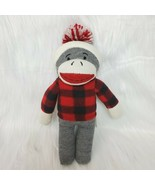 """12"""" Sock Monkey In Red Flannel Shirt & Hat Gray Brown Soft Plush Lovey Toy B227 - $19.97"""