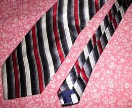"PIERRE CARDIN 100% Silk Neck Tie Men's Maroon Grey Black Diagonal Stripe 59x4"" - $11.87"