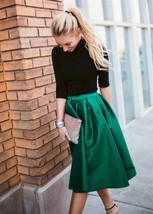 Blue Green A-Line Knee Length Ruffle Skirt Taffeta High Waist Pleated Skirt NWT image 2