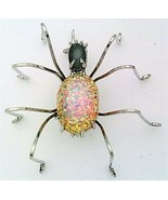 Vintage Glass Spider Stainless Steel Wire Wrap Brooch 14 - $28.97