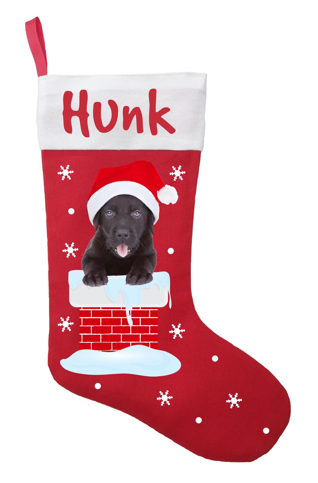 Black Labrador Christmas Stocking - Personalized and Hand Made Black Labrador St