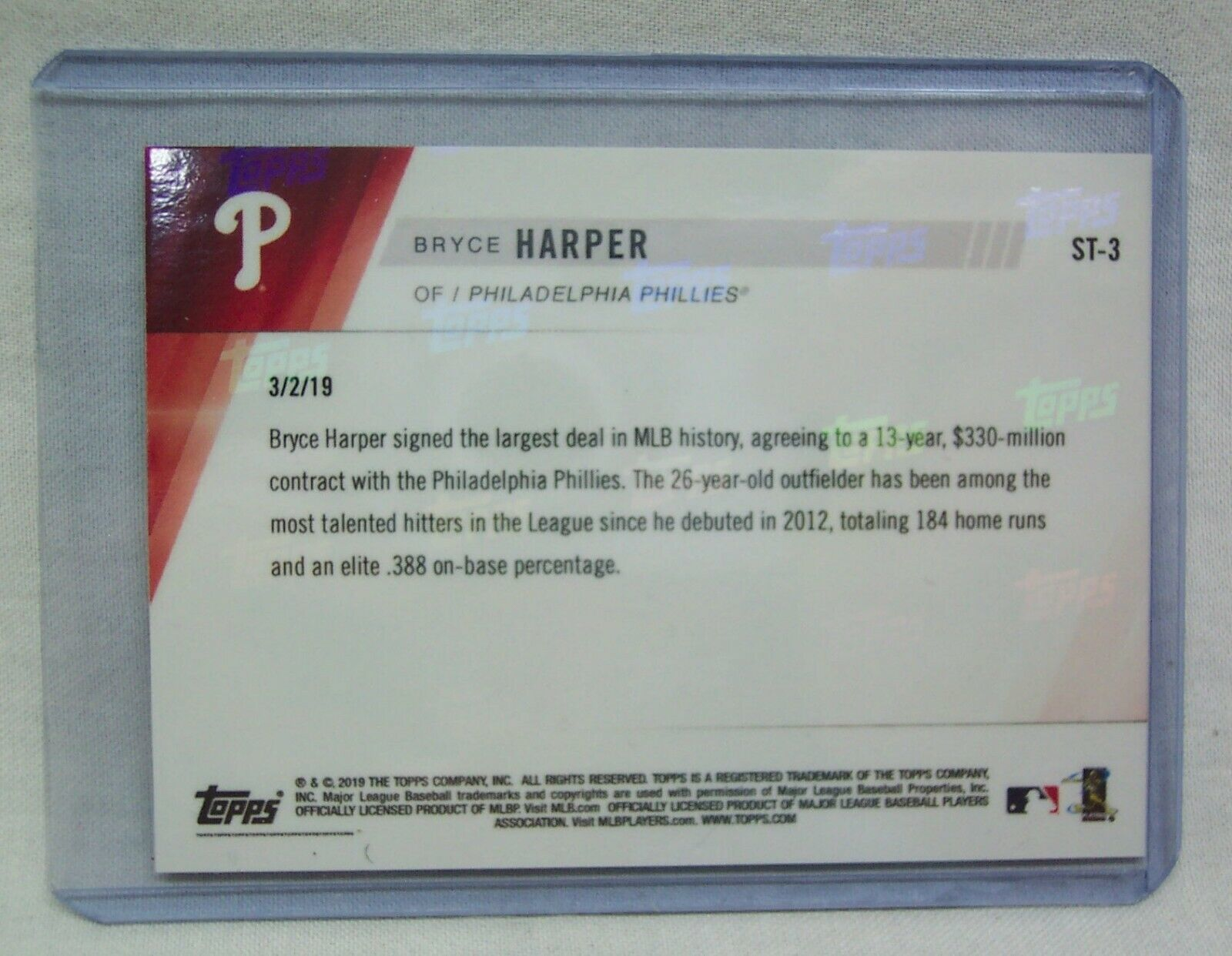 TOPPS NOW BRYCE HARPER Philadelphia Phillies First TRADING CARD ST-3 MINT NEW