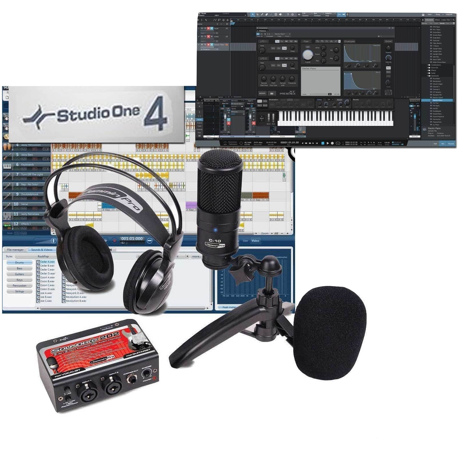 pro pack recording bundle package presonus studio one 4 prime mic dual interface microphones. Black Bedroom Furniture Sets. Home Design Ideas