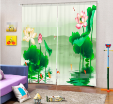 3D Fishes Lotus Blockout Photo Curtain Printing Curtains Drapes Fabric Window CA - $147.54+