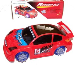RED BATTERY OPERATED BUMP AND GO RACE CAR light up racing toy flashing n... - $8.98