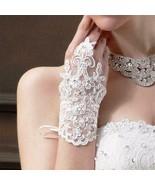 Elegant Beaded Lace Satin Short Bridal Fingerless Rhinestone  Wedding Gl... - $11.60