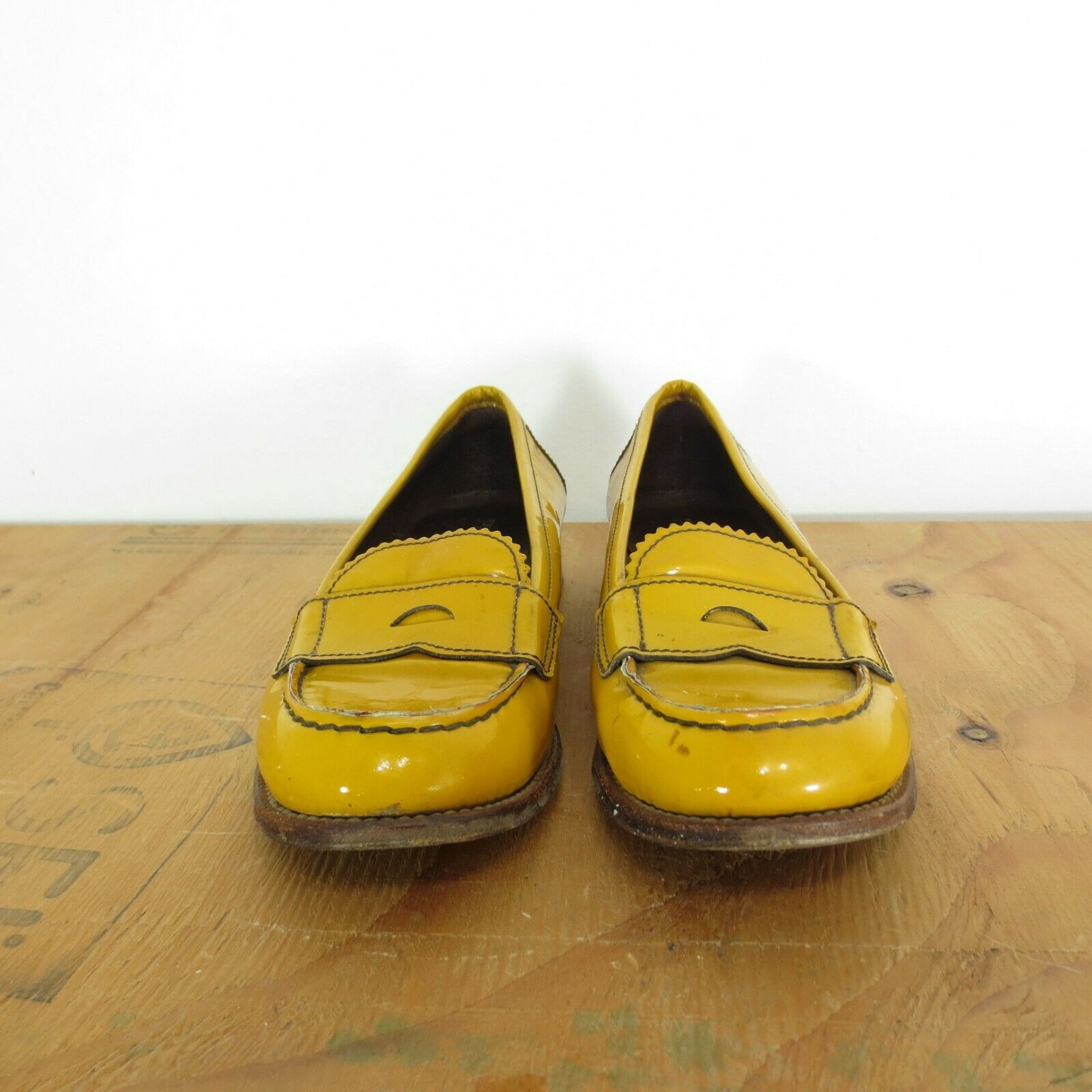 37 / 7 - Prada Womens Mustard Yellow Patent Leather Penny ...
