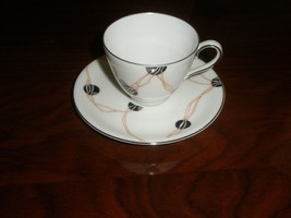 Krautheim Bavarian Germany Selb Tea Cup and Saucer Franconia Mardi Gras ... - $37.40