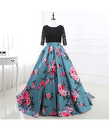 Cheap Long Sleeves Floral Print Ball Gown Long Prom Dresses Lace Formal ... - $140.00