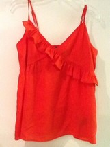 Forever 21 Red orange Womens Ruffle Tank Top Size S Small Spaghetti Straps - $9.95