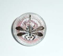 Cute Luster Transparent AB Gold Finish Czech Glass Dragonfly Shank Butto... - $6.82
