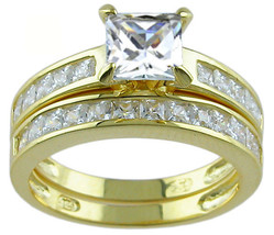 14k Yellow Gold Plated Solid 925 Sterling Silver Cz Wedding Ring Set - $56.99