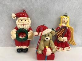 Santa Claus Angel Teddy Bear Christmas Ornaments Collectible - $6.26