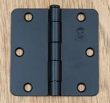 "Flat Black Residential Door Hinges - Penrod - 3 1/2"" with 1/4"" radius - 2 Pack - $12.95"