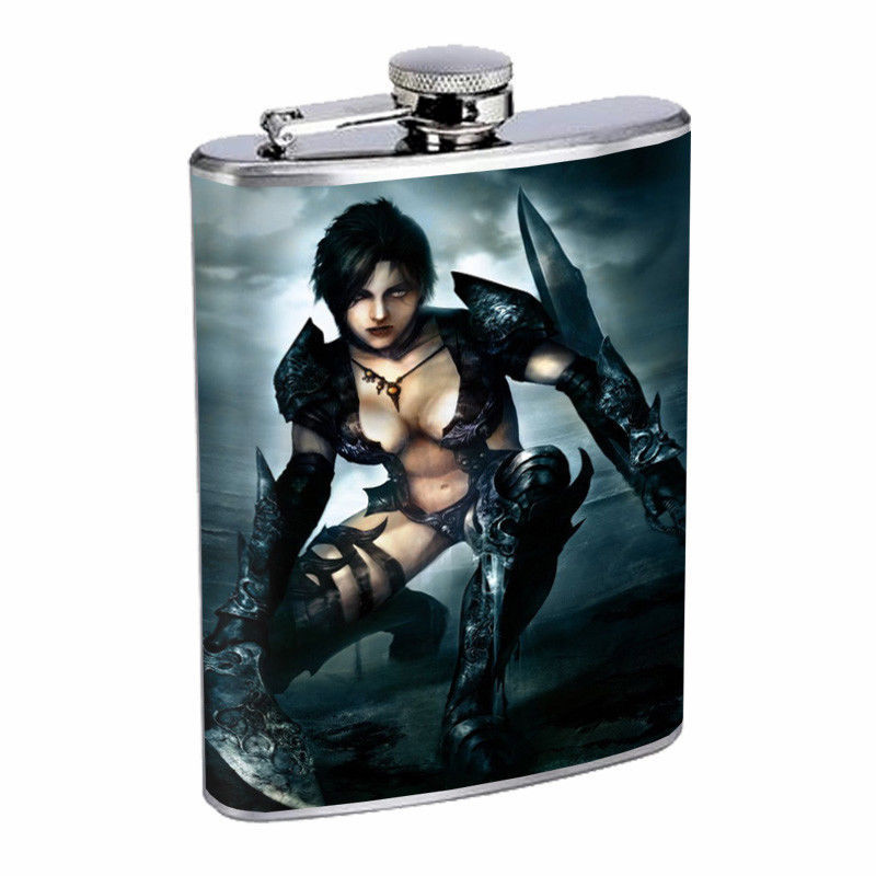 Persian Pin Up Girls D12 Flask 8oz Stainless Steel Hip Drinking Whiskey